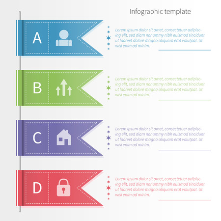 Vector colorful infographic template with ribbons. Business concept in flat style.