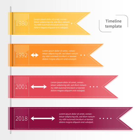 Vector colorful infographic timeline template with ribbons. Business concept in flat style.