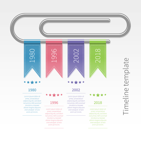 Vector colorful infographic timeline template with paperclip and ribbons. Business concept in flat style.