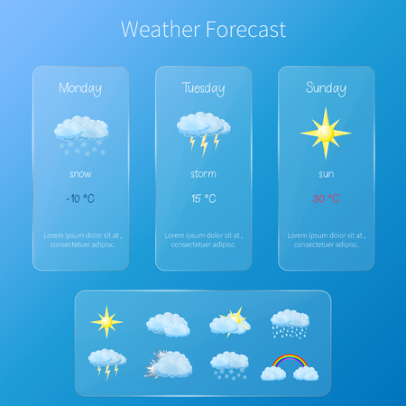 Vector transparent user interface - weather forecast template with set of glossy and detailed icons.