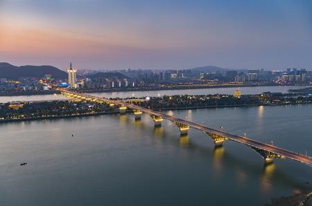 Changsha Hunan Orange Island Xiangjiang scenery with Mount Yuelu city night scenery