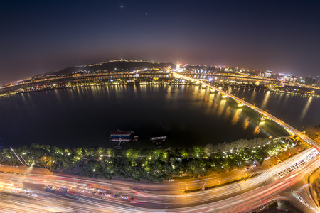 Changsha Hunan Orange Island Mount Yuelu Xiangjiang scenery with a panoramic view of the night