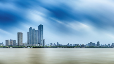 expanse: Changsha, Xiangjiang scenery with urban landscape architecture Editorial