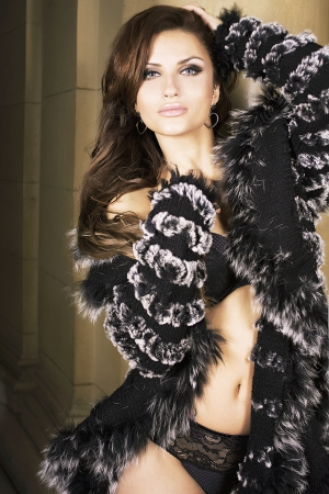 Sexz brunette beautiful woman posing in black lingerie and fur, looking at camera. Stock Photo