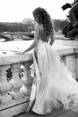 Beautiful brunette woman posing in long fashionable dress in Paris.