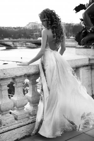 Beautiful brunette woman posing in long fashionable dress in Paris.