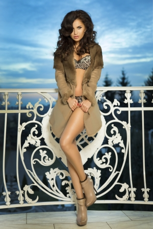 Fashionable brunette woman posing photo