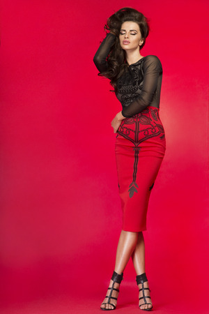 Fashionable young brunette woman posing, studio shot.
