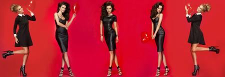 Five pose of beautiful two woman in elegant dresses Standard-Bild