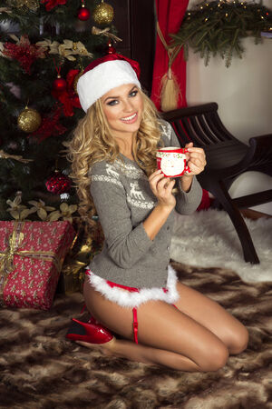 christmas costume: Sexy beautiful blonde woman posing in Santa Claus costume at home. Christmas time.