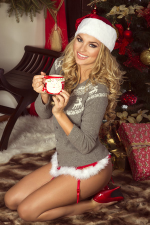 red lingerie: Sexy beautiful blonde woman posing in Santa Claus costume at home. Christmas time.