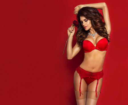 breasts erotic: Sensual brunette woman with perfect body posing in lingerie, holding red rose.