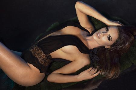 nice breast: Elegant sexy brunette woman posing in lingerie. Studio shot. Ideal body.