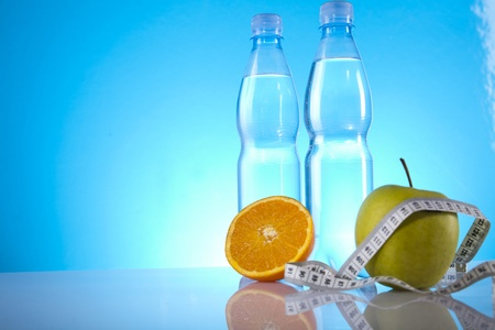mineral water and fruits photo