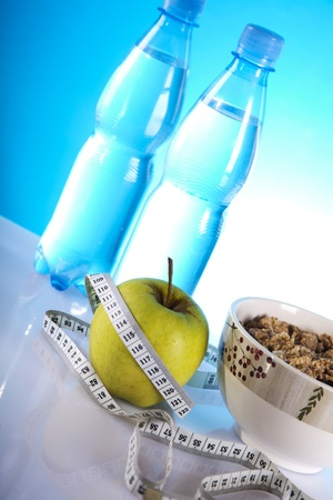 mineral water and green apple photo