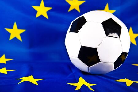 soccerball: european flag and soccerball Stock Photo