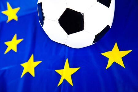 soccerball: soccerball and european flag Stock Photo
