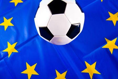 european flag and football ball photo