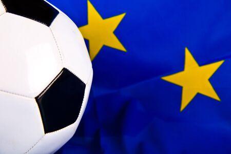 soccer ball closeup and european union flag photo