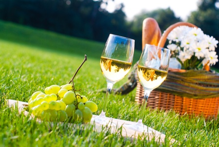 glasses of white wine and picnic basket