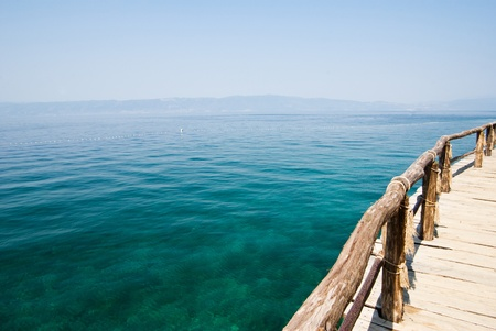 pile dwelling: pier on the Ohrid lake Stock Photo