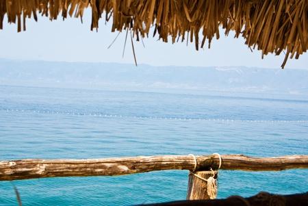 pile dwelling: vacation at the Ohrid lake Stock Photo