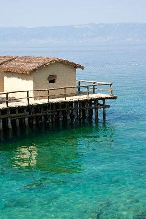 pile dwelling: tropical house on the lake
