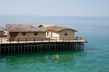 pile dwelling: Ohrid lake