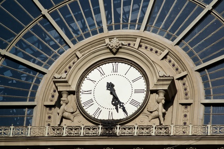 city clock at railway station in Budapest