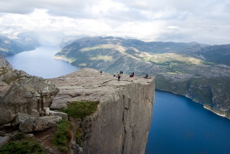 scandinavian people: preikestolen and fjord in Norway