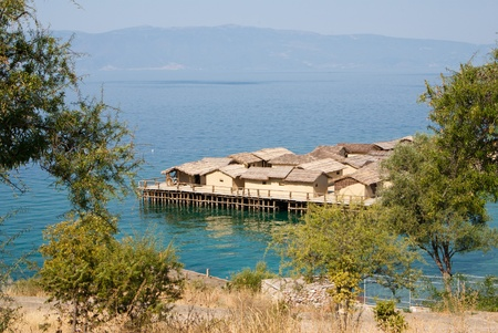 pile dwelling: view on pile-dwelling settlement in Macedonia