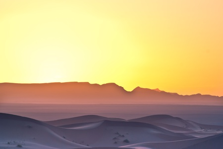 sunrise on the desert in Morocco