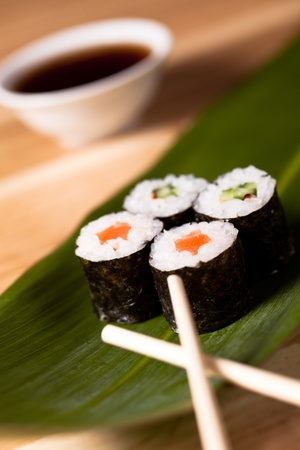 Sushi rolls closeup. makki photo