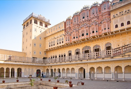 rajput: view on Hawa Mahal is a palace in Jaipur, India