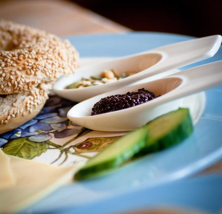 Black caviar and bagel for healthy breakfast Stock Photo - 13530814
