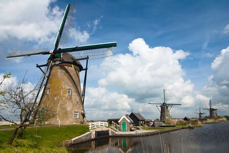 dutch landscape with windmills in Kinderdjik photo