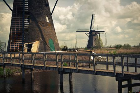 dutch windmills area photo