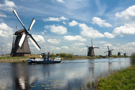 traditional old windmills in Netherlands