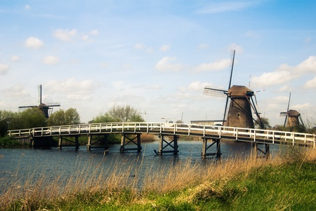 dutch landscape with windmills  photo
