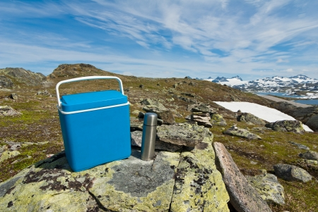 ice chest: mobile fridge and picnic Stock Photo