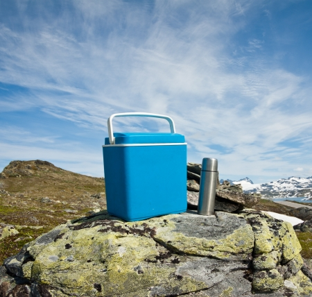 mobile fridge and picnic equipment Stock Photo