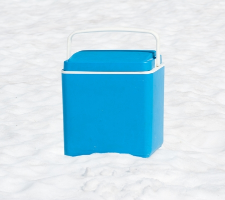 ice chest: mobile fridge in the snow  Stock Photo