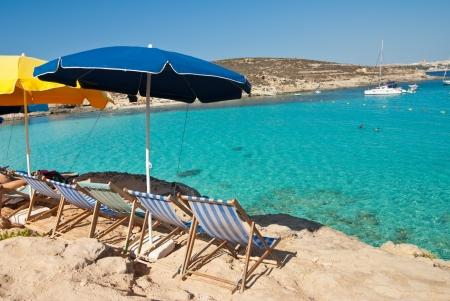 luxury blue lagon beach in Malta Stock Photo