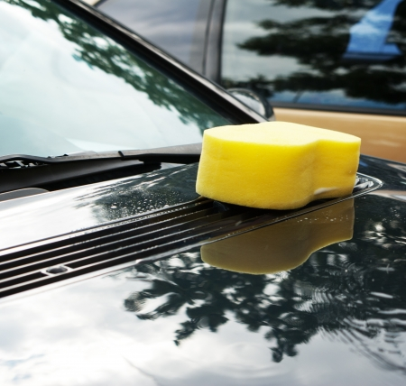 sponge for car cleaning Stock Photo