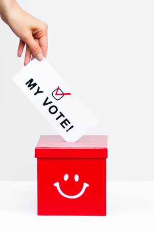 hustings: ballot box with vote Stock Photo