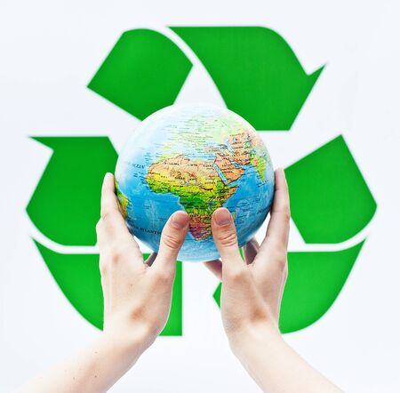 recycling concept with planet earth photo