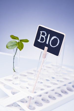 laboratory equipment: bio sign and laboratory equipment  Stock Photo