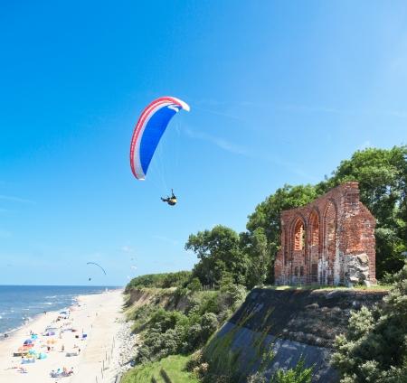 gliding at the sea coast Stock Photo