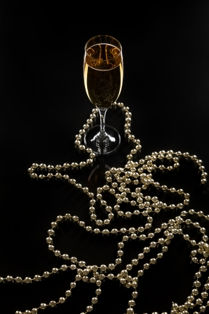 perls: champagne and perls for perfect date Stock Photo