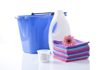 detergent: washing powder and clean towels Stock Photo